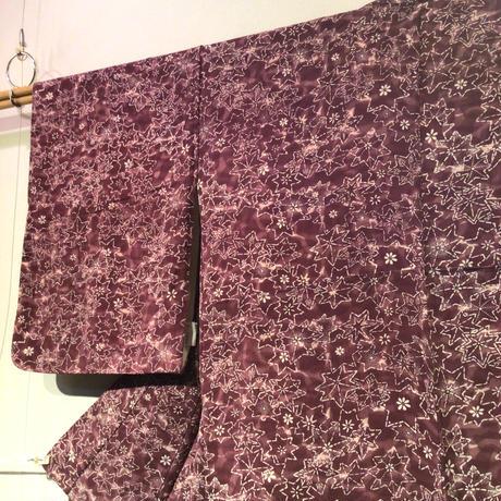 袷 正絹 紫地に紅葉柄 z142