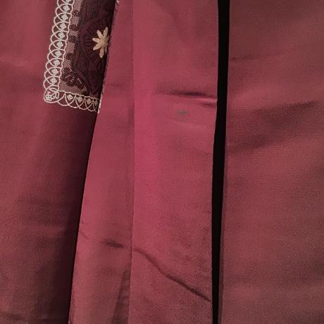 単衣   正絹   えんじ色にキラキラの四角柄   z100