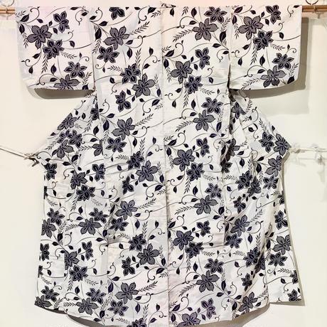 浴衣 注染 白地に紺の花柄 yu30