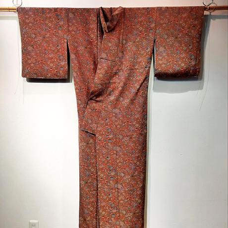 正絹 袷 小紋 更紗柄 z36