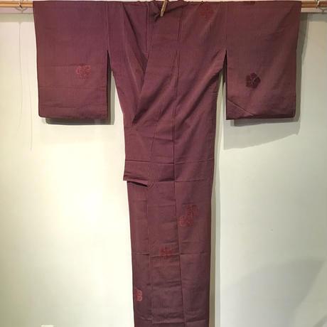 単衣   正絹    えんじ色に撫子の刺繍柄   z106