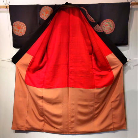 正絹 袷 織・丸紋z54
