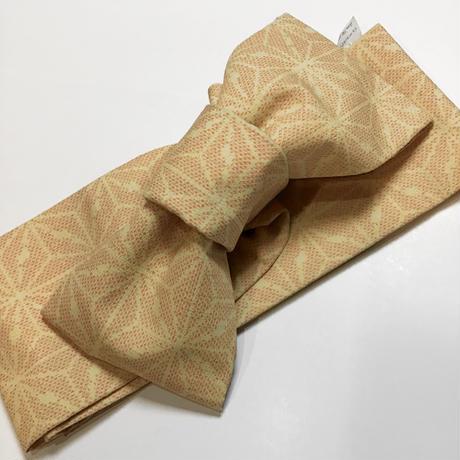 ウール 半幅帯 黄色地 麻の葉柄 ob94