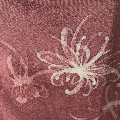 袷 正絹 くすみピンク地に白のろうけつ染めの糸菊柄 z146