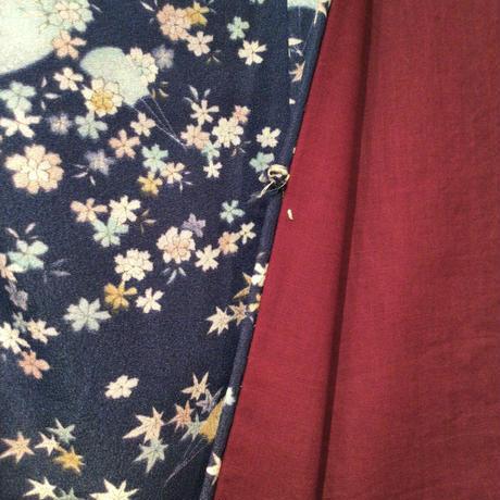 羽織 化繊 青地に扇・小さな紅葉柄 h67