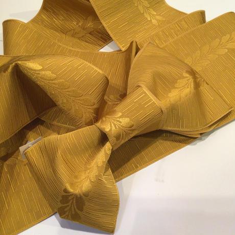 半幅帯 化繊 カラシ色に藤柄 ob146