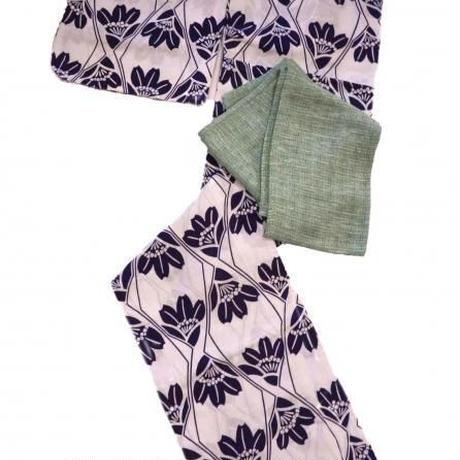 【京・木棉 乙】オリジナル竹繊維半幅帯 ミントグリーン