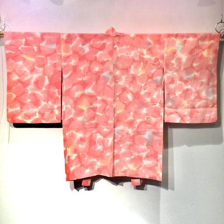 羽織 正絹 明るいピンク地に水彩画の様な花柄 h69