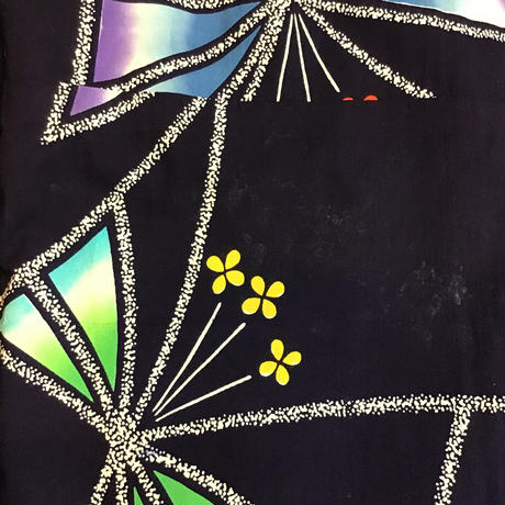 浴衣 紺地にグラデーションの羽の蝶柄 yu2