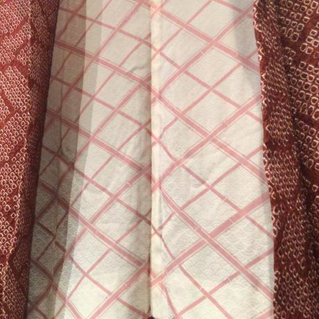 羽織 正絹 こげ茶色 青海波の絞り h77