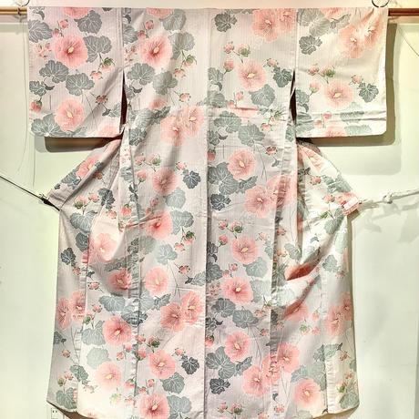 浴衣 グレー地に薄ピンクのハイビスカス柄 yu31