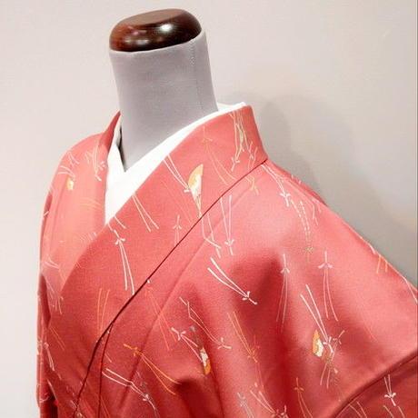 正絹 袷 小紋 松葉・扇柄 落款入り z5