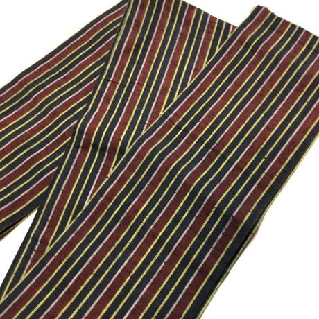 半幅帯 紺×赤×黄×白の縞柄 ob133