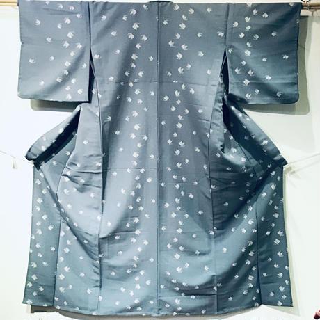 単衣   化繊   ブルーグレー色   蝶柄   z99