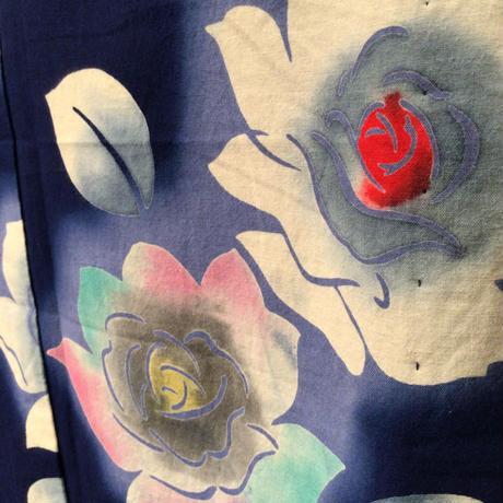 浴衣 注染 紺地に薔薇柄 yu33