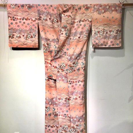 袷 ピンク地に横段の花柄と宝尽くし柄   z118