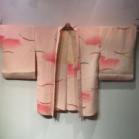 羽織 正絹 薄桃色地に雲取り、つゆ芝柄 h66