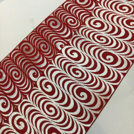 半幅帯 紅白の観世水柄 ob142