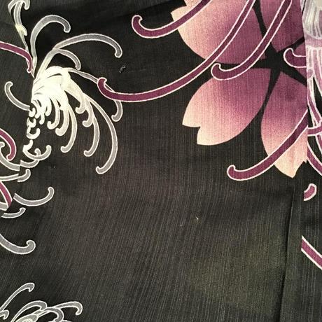 浴衣     濃紺地に紫の桜と糸菊柄    yu6