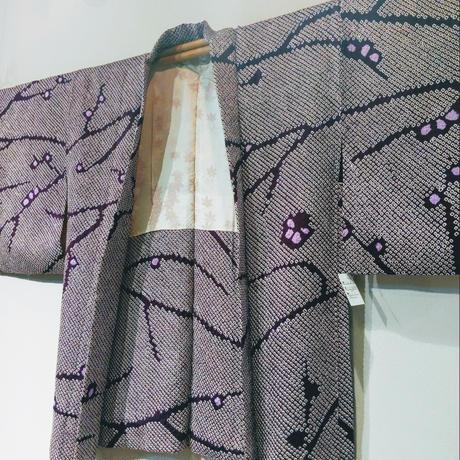 羽織 濃紫地・総絞りh14