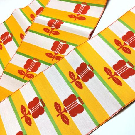 半幅帯 博多帯 黄×黄緑×白の縞に赤の遠州椿柄 ob138