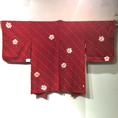 羽織 正絹 暗い赤色地に梅・紅葉の絞り柄 h73