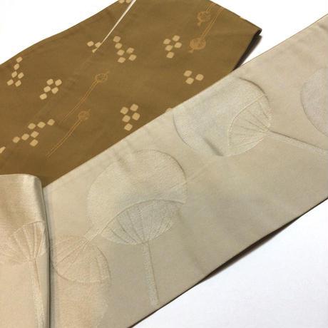 半幅帯 化繊  黄土色にかんざし柄×白地に団扇柄 ob132