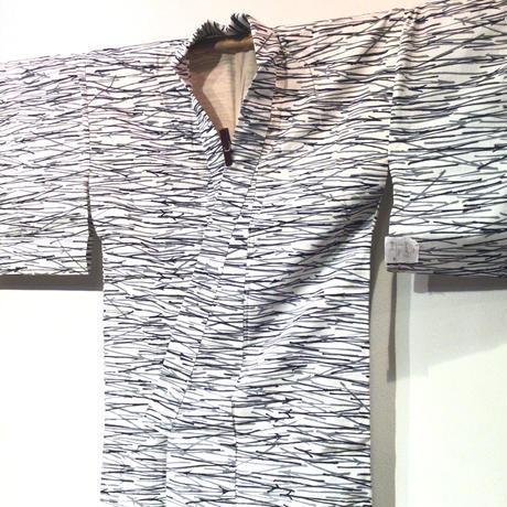 浴衣 注染 白地に紺の松葉柄 yu24