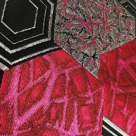 名古屋帯 八寸 黒地にピンク銀の亀甲柄 ob98