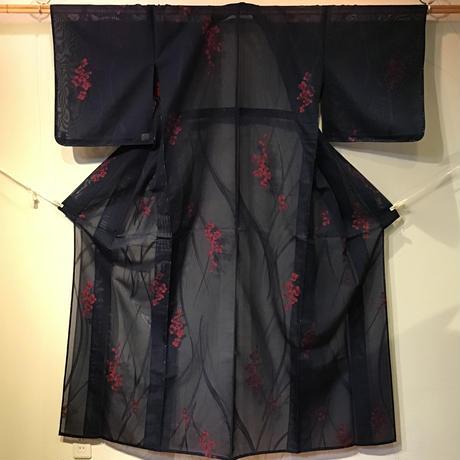 化繊 紗 紺地 赤い小花柄 z98