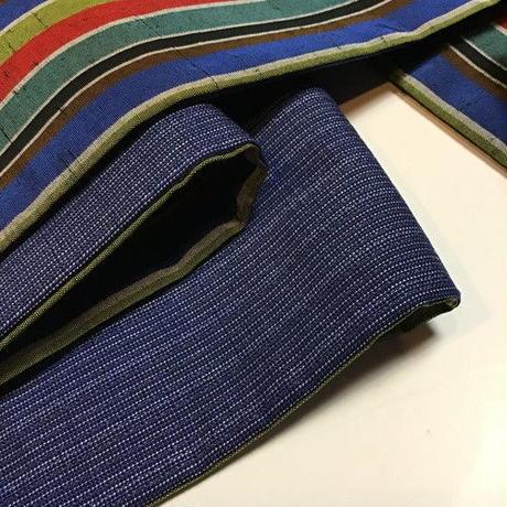 正絹 半幅帯 紬地横縞柄 ob72