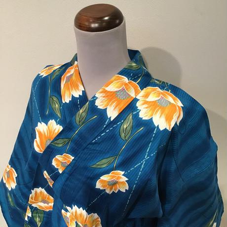 浴衣 青地にオレンジの花柄 yu1