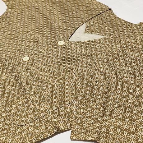 鯉口(こいくち)シャツ ベージュ 麻の葉柄