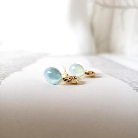 ソフトクリップイヤリング ブルーカルセドニー/ Soft Clip Earring 'Blue Chalcedony'