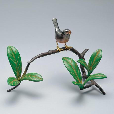 166-09 石楠花に文鳥