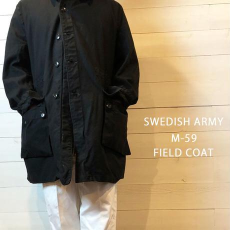 【SWEDISH ARMY M-59 FIELD COAT BLACK USED】 スウェーデン軍 M-59  フィールドコートBLACK染め  USED