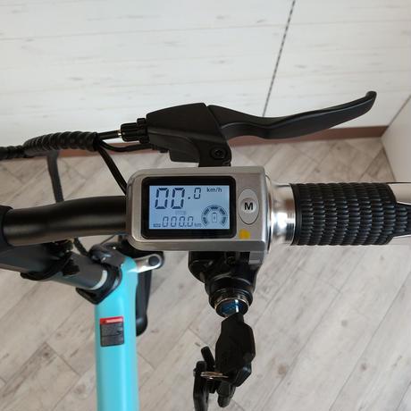 電動 折りたたみ 自転車 耐荷重150kg 充電式 スカイブルー 商品番号4460S