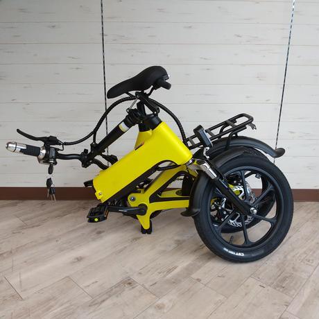 電動 折りたたみ 自転車 耐荷重150kg 充電式 イエロー 商品番号4463