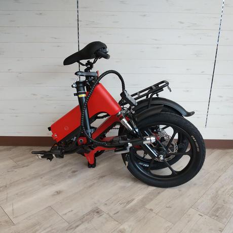 電動 折りたたみ 自転車 耐荷重150kg 充電式 レッド 商品番号4465