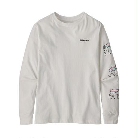 Patagonia(パタゴニア) ボーイズ・ロングスリーブ・グラフィック・オーガニック・Tシャツ   #62229 P-6 Logo(BAWH)【80-PT62229】