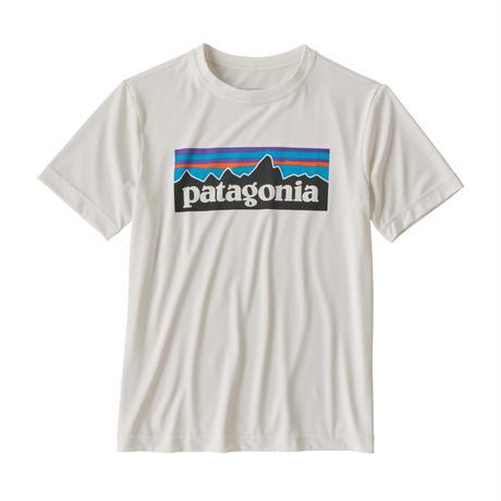 Patagonia(パタゴニア) レディース対応 ボーイズ・キャプリーン・クール・デイリー・Tシャツ#62420   P-6 Logo: White (PLWT)[管理番号:60-pt62420]