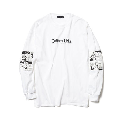 "Delivery Hells / ""Four flame"" L/S Tee (white)"