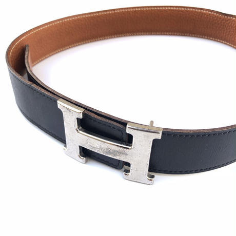 "HERMES(マルジェラ期)。 / ""H"" Belt Buckle and Reversible Belt  (Hi brand hurugi)"