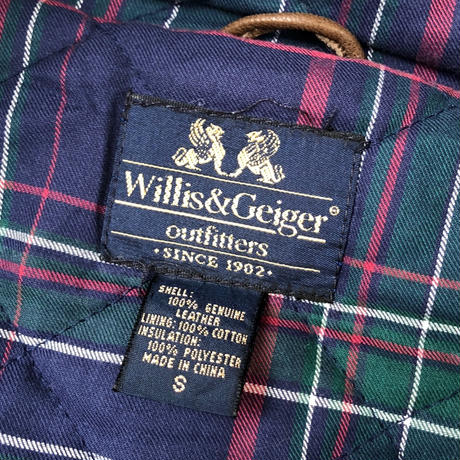 80's Willis&Geiger Outfitters  ファーフード付き レザーコート(spice)