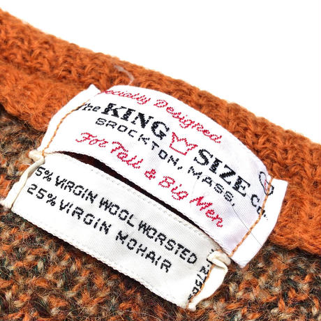 "60's The KING SIZE ""Argyle Mohair Cardigan""  (spice)"