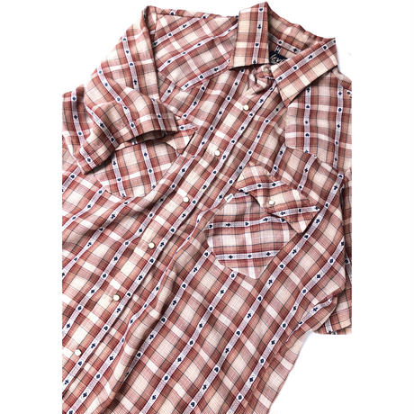 "70's Levi's ""TRUMP"" Pattern S/S shirt (spice)#A1"