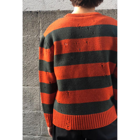 THREE FACE / damage border knit (orange ×green)