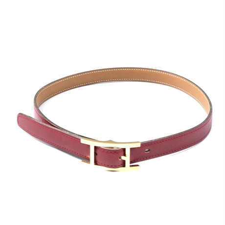 "HERMES(マルジェラ期)。 / Leather Belt ""Quentin"" (18mm,red)"