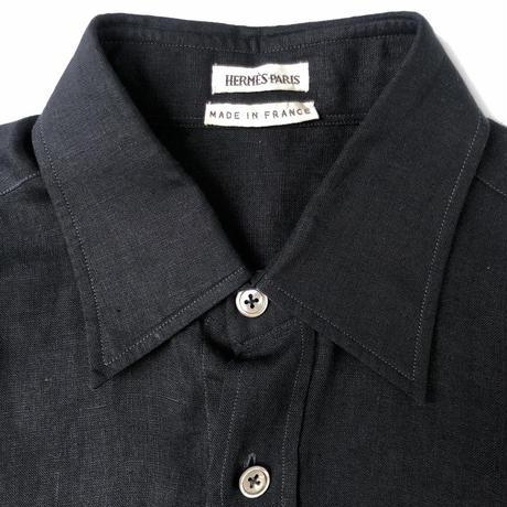 "HERMES (マルジェラ期)  by Martin Margiela "" black linen shirt ""(Hi brand hurugi)"