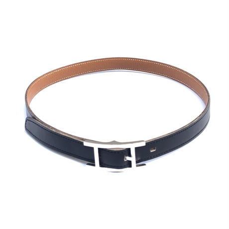 "HERMES(マルジェラ期)。 / Leather Belt ""Quentin"" (18mm,black)"